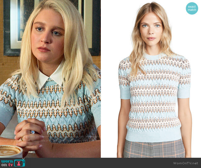Carven Short Sleeve Sweater worn by Alice (Julia Schlaepfer) on The Politician