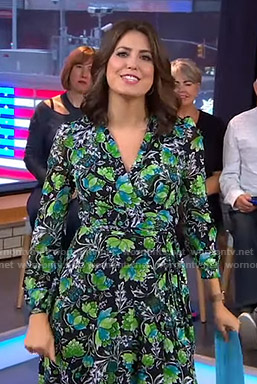 Cecilia's black and green floral dress on Good Morning America