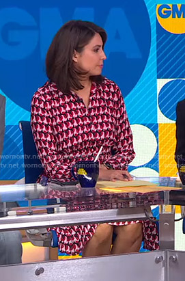 Cecilia's pink geometric print shirtdress on Good Morning America