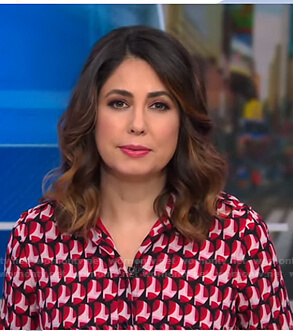 Cecilia's pink geometric print shirtdress on Good Morning America