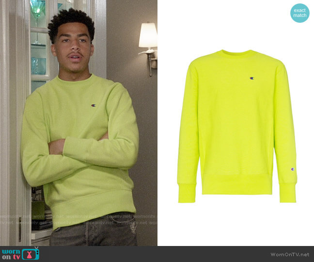 Champion Logo Embroidered Cotton Sweatshirt worn by Andre Johnson Jr (Marcus Scribner) on Blackish