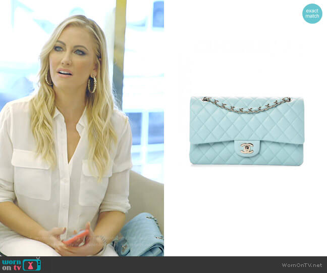 Caviar Quilted Medium Double Flap Bag by Chanel worn by Stephanie Hollman  on The Real Housewives of Dallas