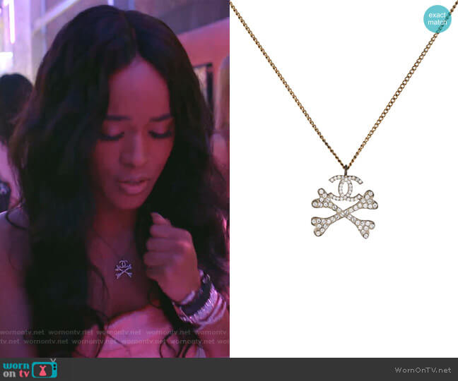 Crossbones Pendant Necklace by Chanel worn by Tiana Brown (Serayah McNeill) on Empire