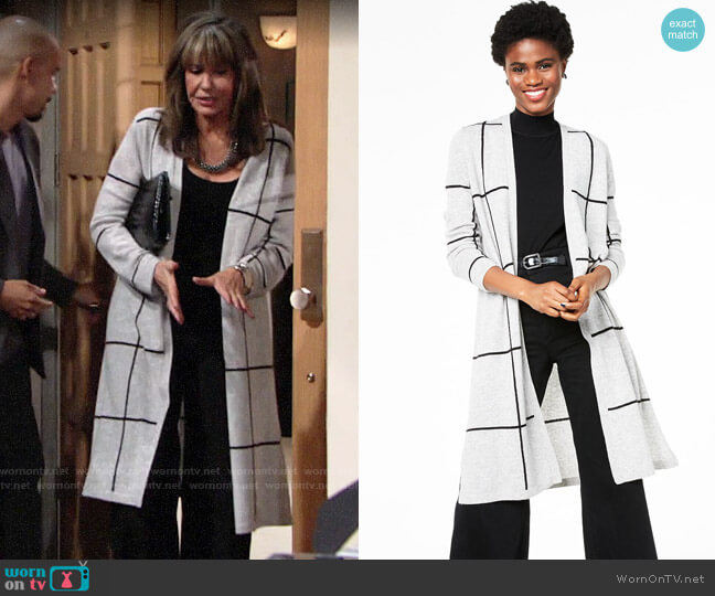 Charter Club Cashmere Duster Cardigan worn by Jill Abbott (Jess Walton) on The Young & the Restless