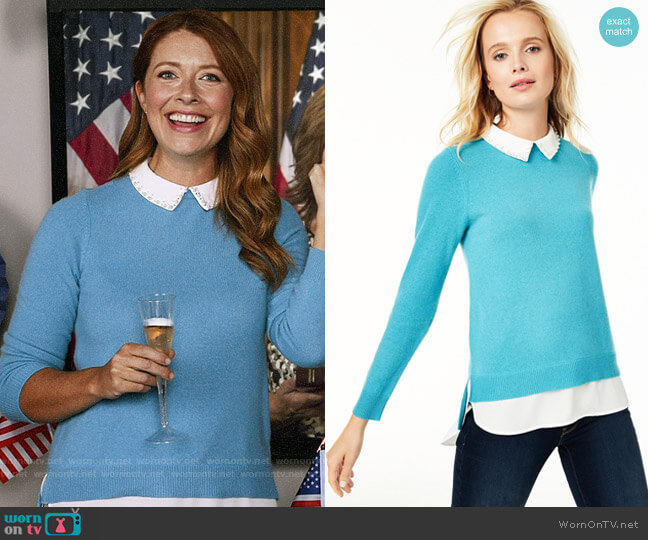 Charter Club Cashmere Embellished Layered-Look Sweater worn by Abby (Nadia Quinn) on Black-ish