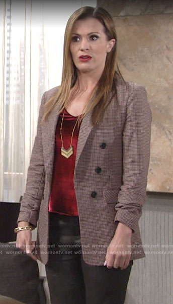 Chelsea's checked double breasted blazer on The Young and the Restless
