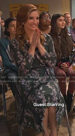 Chelsea's green floral wrap dress on Ravens Home