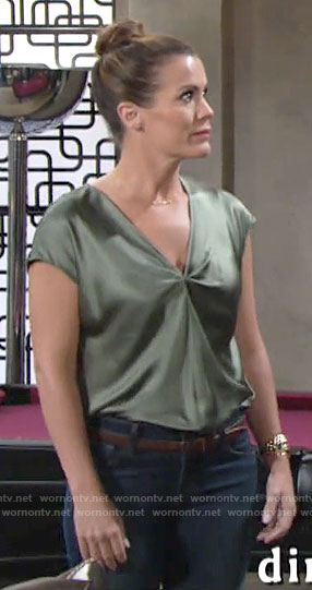 Chelsea's green silky twist front top on The Young and the Restless