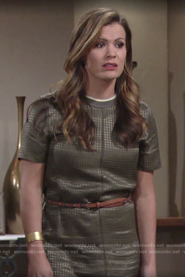Chelsea's khaki houndstooth dress on The Young and the Restless