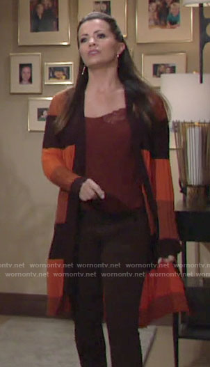 Chelsea's orange striped cardigan on The Young and the Restless