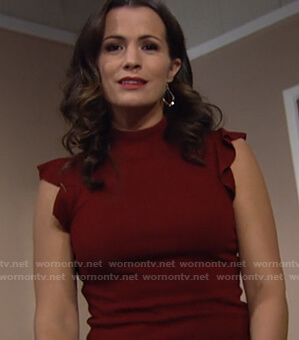 Chelsea's red ruffle sleeve top on The Young and the Restless