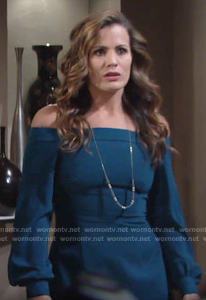 Chelsea's teal blue off-shoulder dress on The Young and the Restless