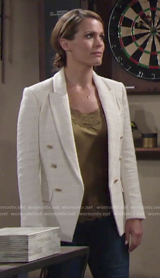 Chelsea's white tweed blazer on The Young and the Restless