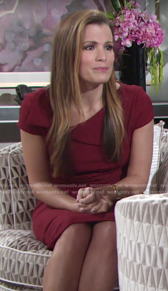 Chelsea's red folded neckline dress on The Young and the Restless