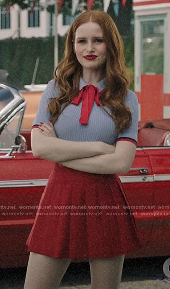 Cheryl's blue polo top and red pleated skirt on Riverdale
