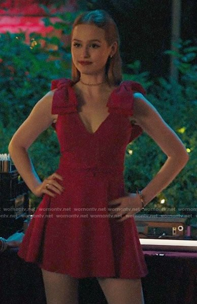 Cheryl's red bow shoulder dress on Riverdale