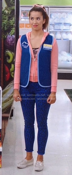 Cheyenne's blue leopard jeans and coral hoodie on Superstore
