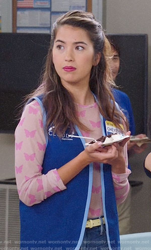 Cheyenne's pink butterfly print top on Superstore