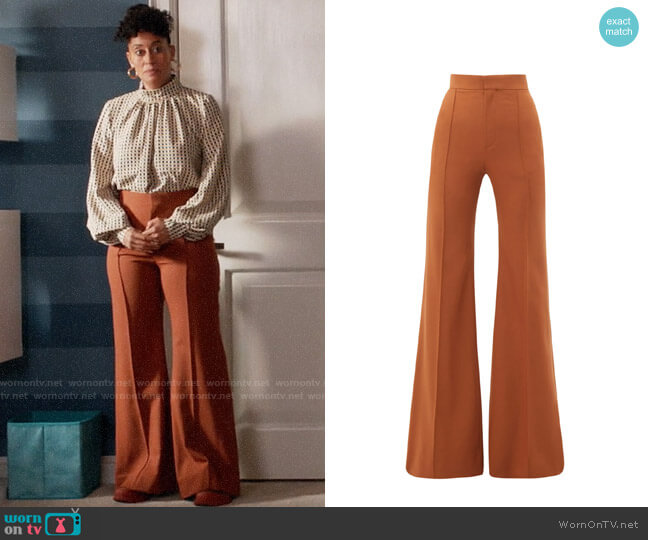 Chloe High-rise wool-blend flared trousers worn by Rainbow Johnson (Tracee Ellis Ross) on Blackish