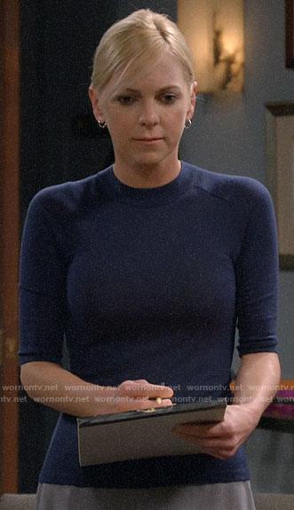 Christy's navy blue short sleeve sweater on Mom