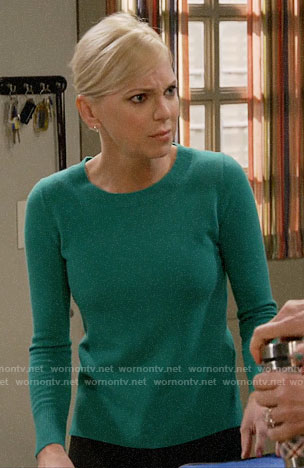 Christy's green sweater on Mom