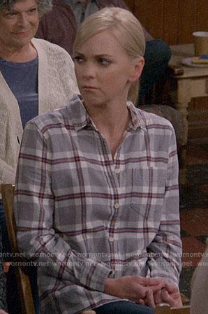 Christy's grey plaid shirt on Mom