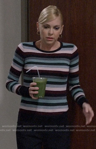 Christy's striped sweater on Mom