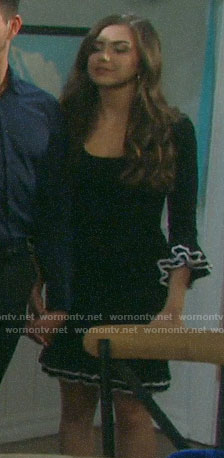 Ciara's black ruffle trim dress on Days of our Lives