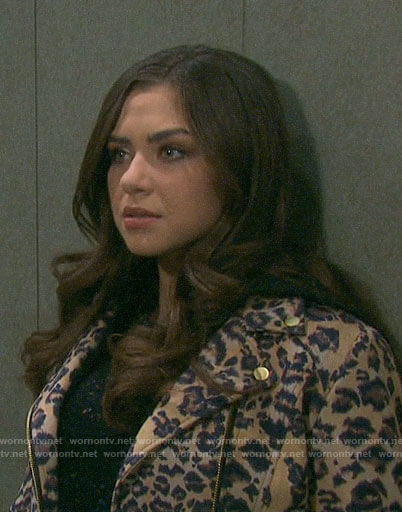 Ciara's leopard print moto jacket on Days of our Lives
