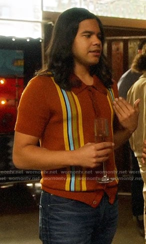 Cisco's striped button down polo shirt on The Flash