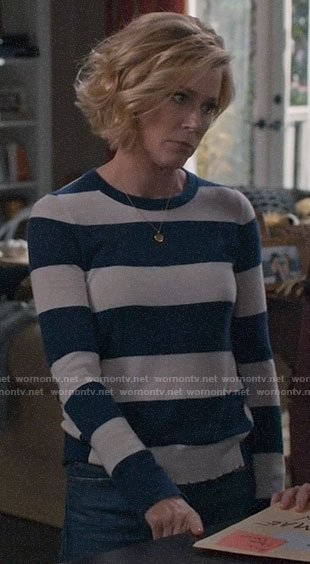 Claire's blue wide striped sweater on Modern Family
