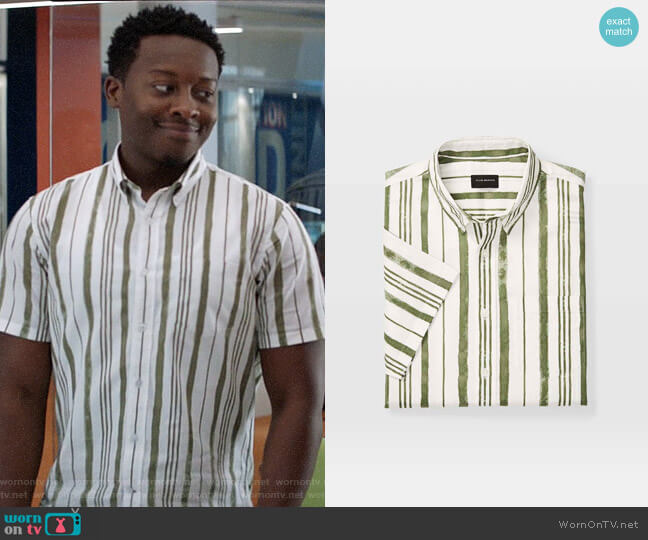 Club Monaco Slim Short-Sleeve Stripe Shirt worn by Miles Finer (Brandon Micheal Hall) on God Friended Me