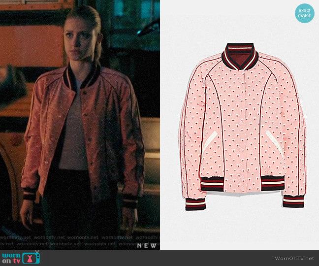 Coach Reversible Souvenir Varsity Jacket worn by Betty Cooper (Lili Reinhart) on Riverdale