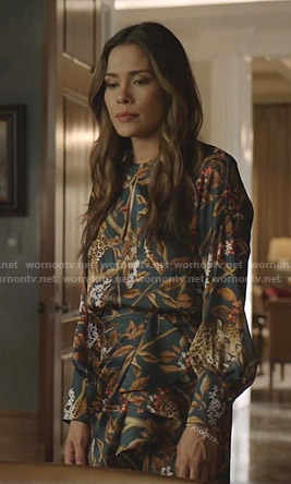 Cristal's Jaguar print keyhole dress on Dynasty