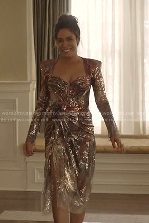 Cristal's metallic dress on Dynasty