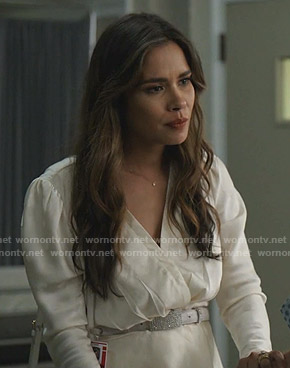 Cristal's white polka dot wrap top on Dynasty