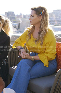 D'Andra's yellow blouse and blue sailor pants on The Real Housewives of Dallas