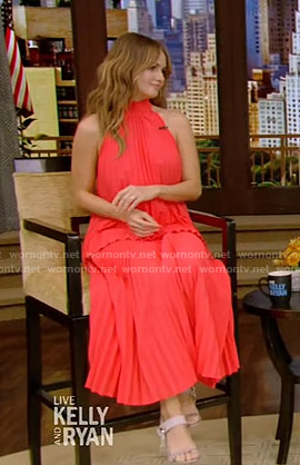 Debby Ryan's red pleated sleeveless top and skirt on Live with Kelly and Ryan