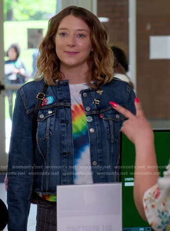 Nonnie's denim jacket and rainbow print tee on Insatiable