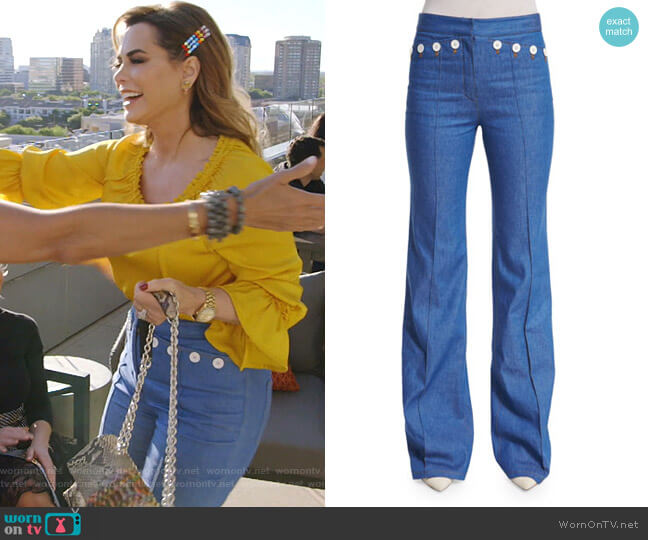 High-Waist Flare-Leg Denim Pants by Derek Lam worn by D'Andra Simmons  on The Real Housewives of Dallas