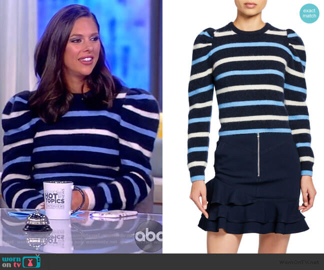 Striped Puff-Sleeve Sweater by Derek Lam 10 Crosby worn by Abby Huntsman  on The View