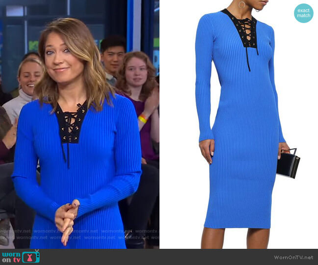 Lace-Up Ribbed-Knit Midi Dress by Diane von Furstenberg worn by Ginger Zee  on Good Morning America