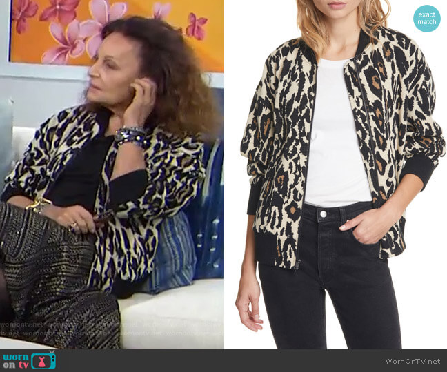 Leopard Print Cotton Bomber Jacket by Dvf worn by Diane von Furstenberg on Today Show