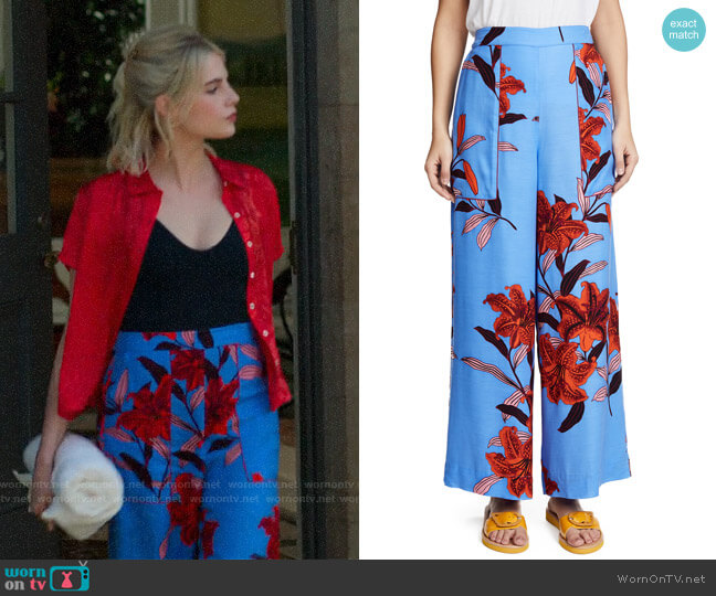 Diane von Furstenberg Wide Leg Cropped Pants worn by Astrid (Lucy Boynton) on The Politician