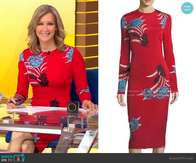 Floral Sheath Dress by Diane von Furstenberg worn by Lara Spencer  on Good Morning America