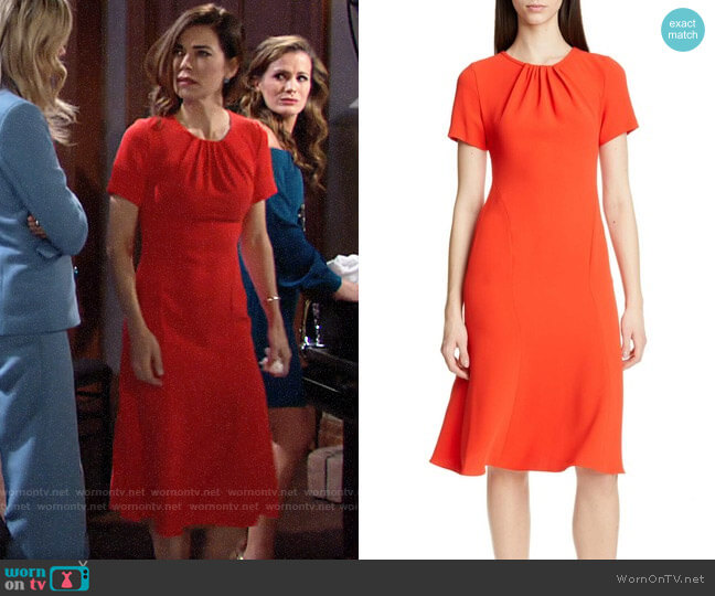 Diane von Furstenberg Rose Dress worn by Victoria Newman (Amelia Heinle) on The Young & the Restless