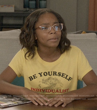 Diane's yellow BE YOURSELF tee on Black-ish