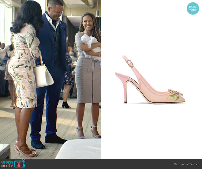 Floral Crystal Slingback Pump by Dolce & Gabbana worn by Cookie Lyon (Taraji P. Henson) on Empire