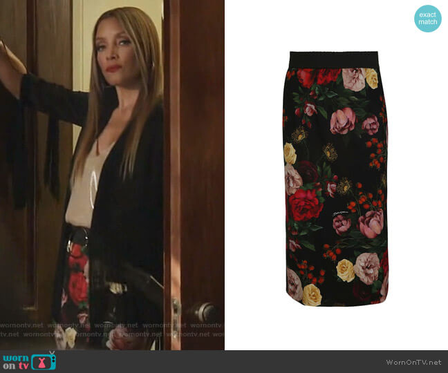 Floral Skirt by Dolce & Gabbana worn by Dominique Deveraux (Michael Michele) on Dynasty