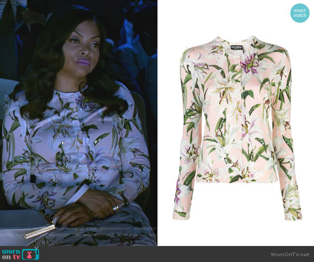 Lily Print Cardigan by Dolce & Gabbana worn by Cookie Lyon (Taraji P. Henson) on Empire